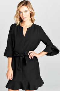 Bell Sleeve Tie Dress-Poppy Street