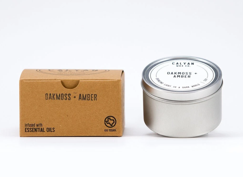 Oakmoss + Amber Tin Candle-Poppy Street