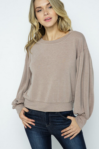 Lantern Sleeve French Terry Pullover-Poppy Street