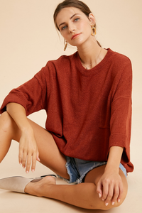 Relaxed Pullover Sweater Rust-Poppy Street