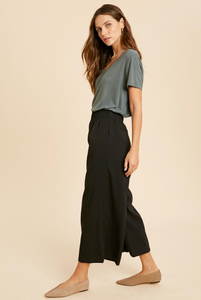Shirred Waist Wide Leg Pants-Poppy Street