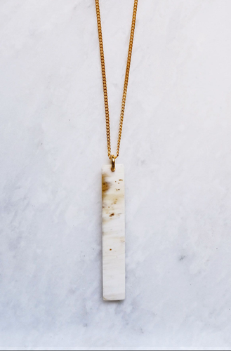 Tinh Buffalo Horn Minimalist Bar Pendant Necklace-Poppy Street