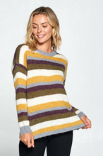 Load image into Gallery viewer, Striped Pullover Crew Neck Sweater