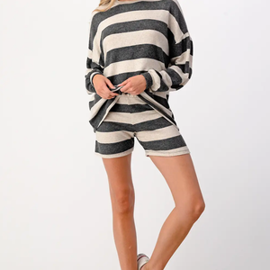 Striped Relaxed Lounger Shorts Set-Poppy Street