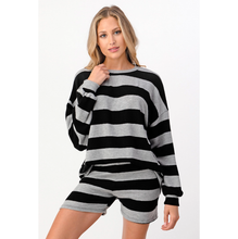 Load image into Gallery viewer, Striped Relaxed Lounger Shorts Set