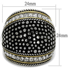 Load image into Gallery viewer, Black & Crystal Stainless Steel Band Ring-Poppy Street