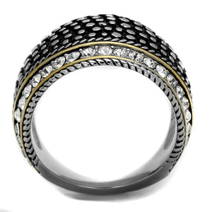 Black & Crystal Stainless Steel Band Ring-Poppy Street