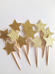 Gold Glitter Star Picks-Poppy Street
