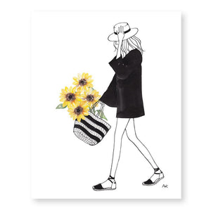 Sunflower Girl Art Print-Poppy Street