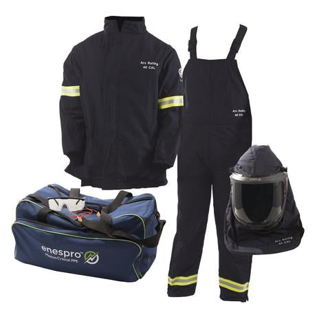 Enespro-40 CAL Enespro AirLite™ Arc Flash KIT with OptiShield™ Vented Lift-Front Hood & MSA V-Gard® Hard Hat