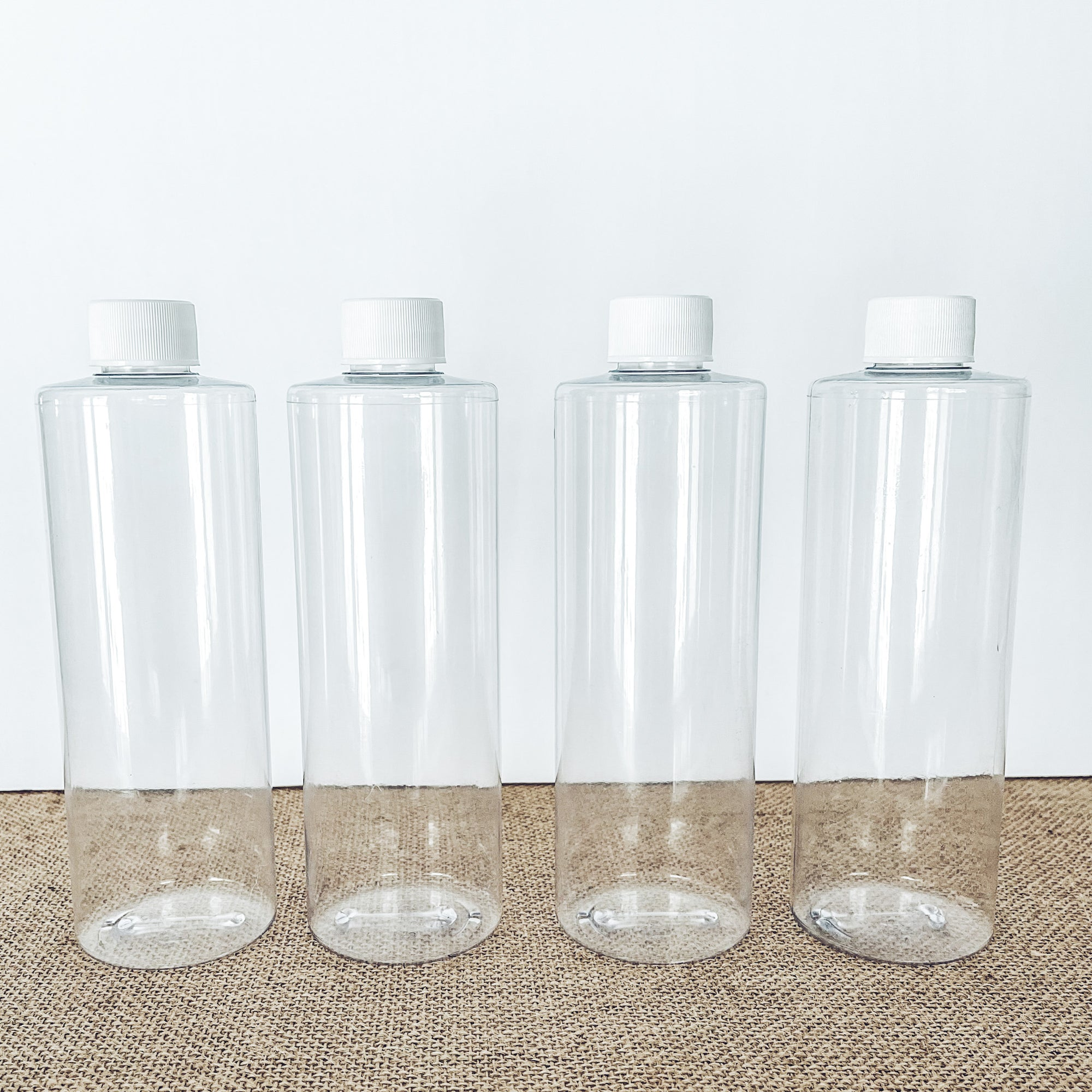 Clear 16 oz BPA Free Plastic Bottles w/ White Cap(4 pc)