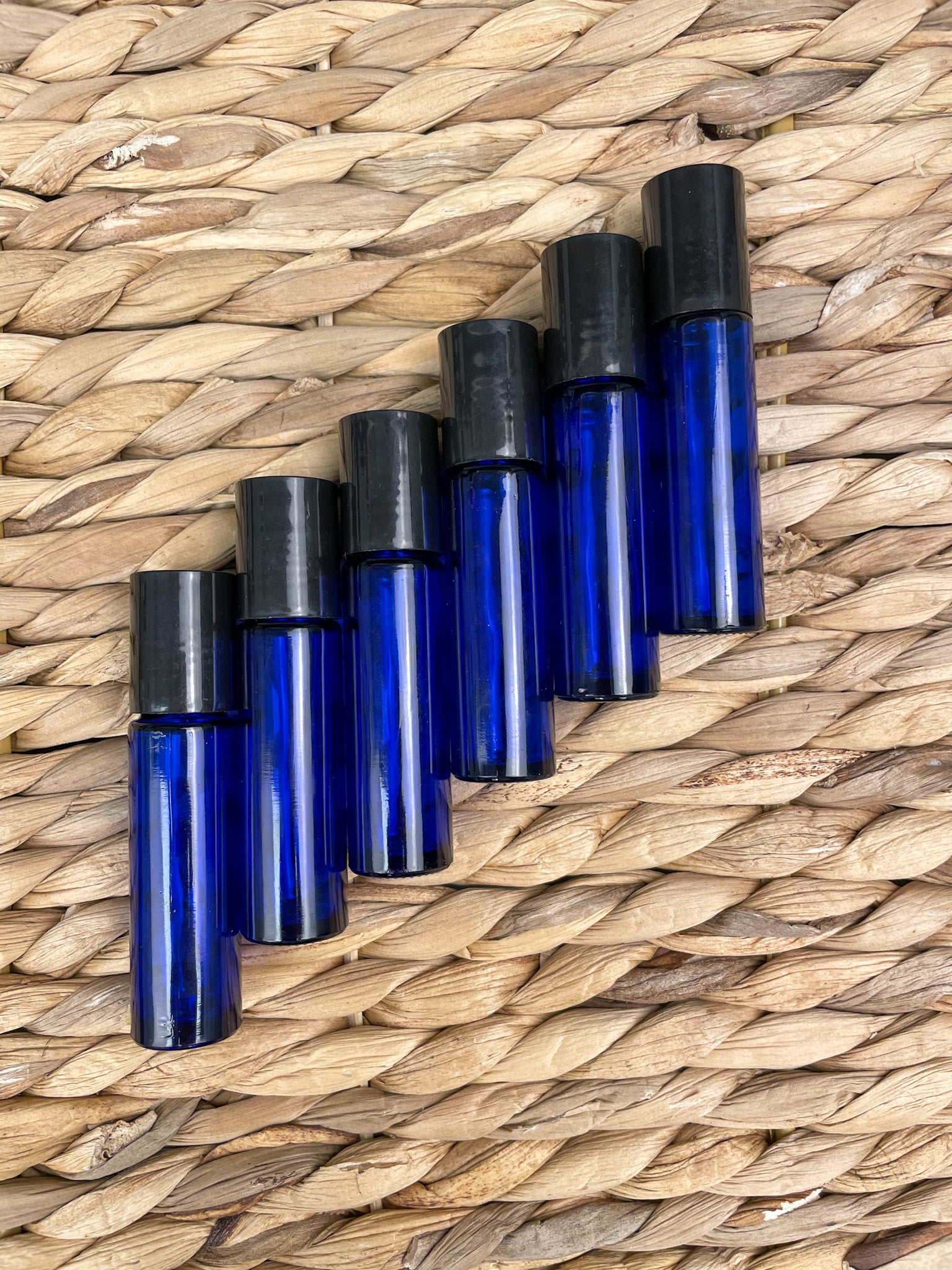Essential Oil Roller Bottles 6 Pc 10 ml Cobalt Blue Glass with Stainless Steel Roller Balls