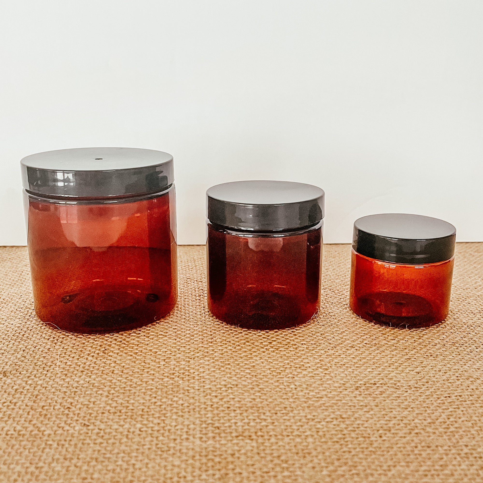 Amber 2oz, 4oz, 8oz PET Plastic Jars with Lids (4 pc)