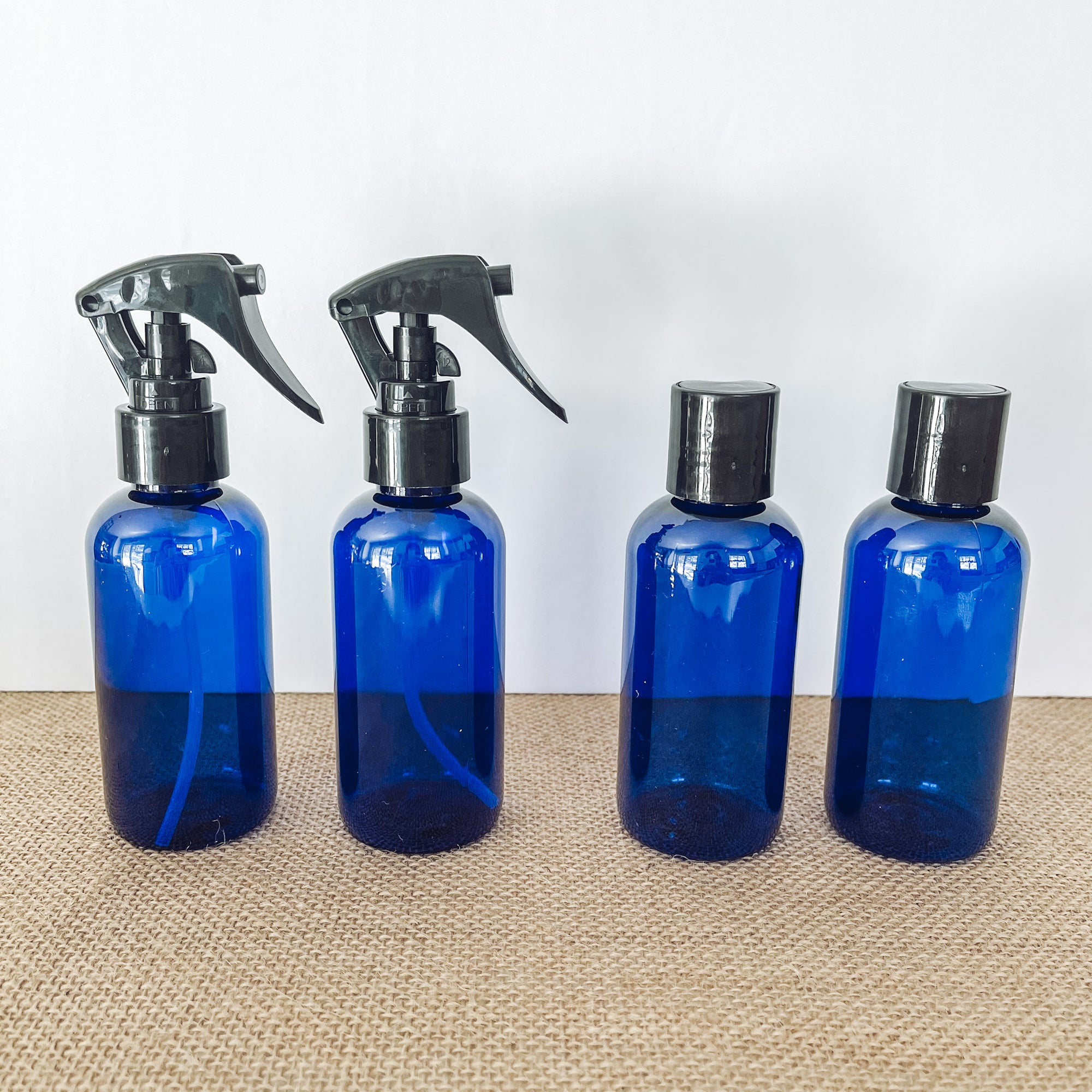 Cobalt Blue 4 oz PET Plastic Bottles (BPA Free) w Black Closures (4 pc)