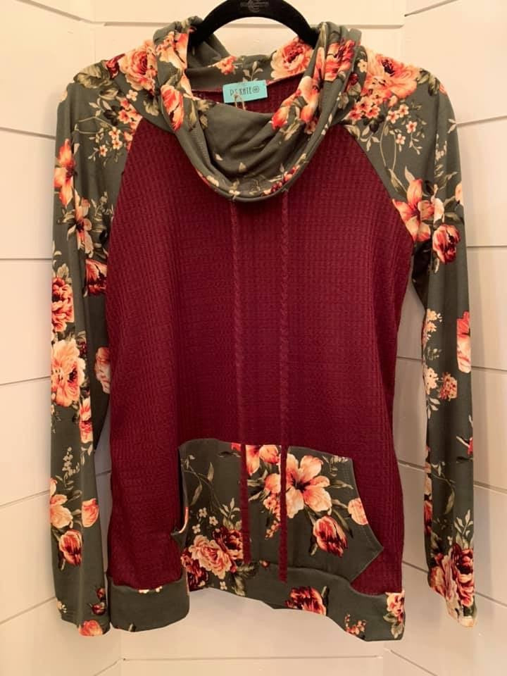 Floral Waffle Knit Pullover