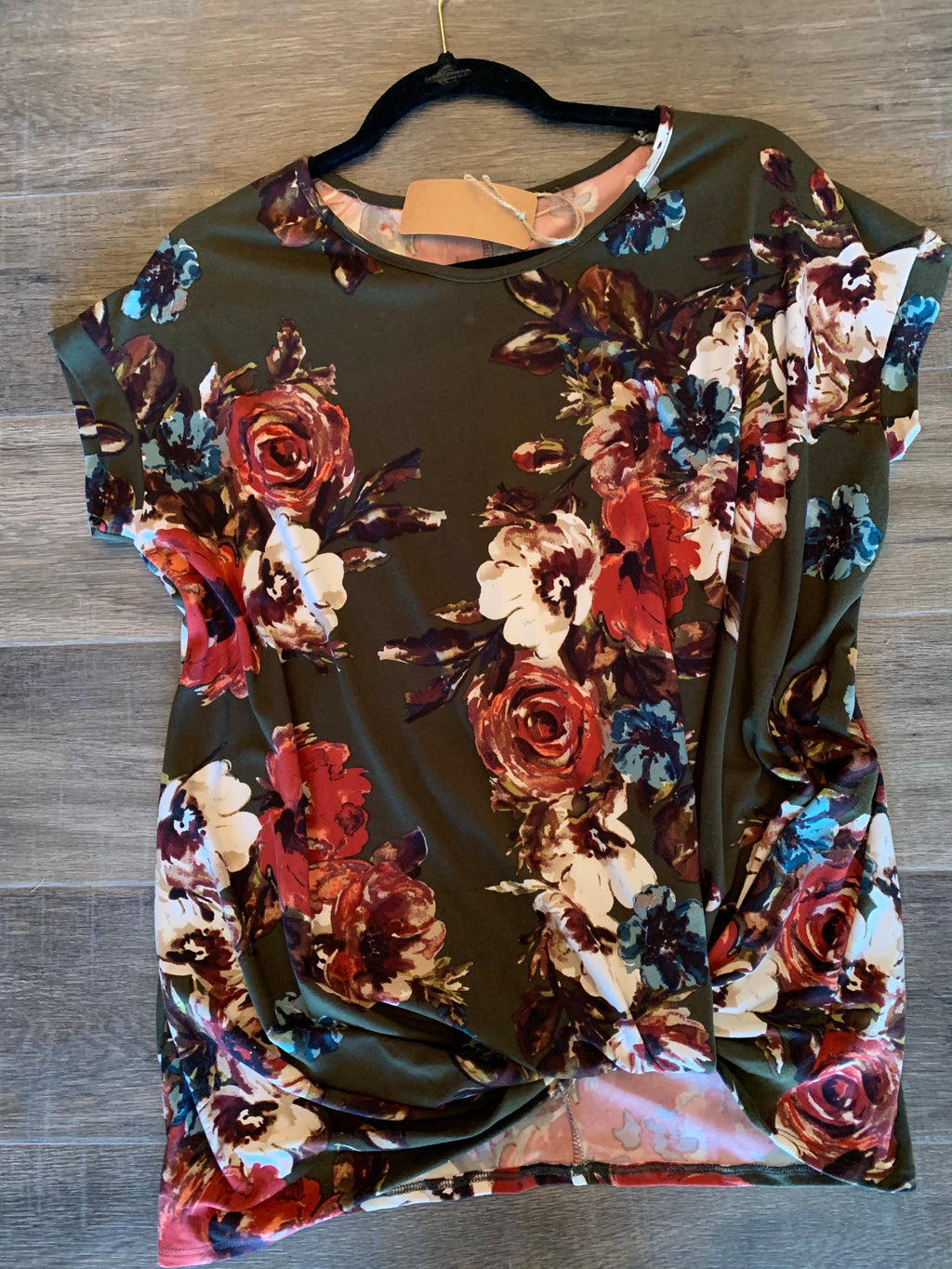 Olive Floral Knot Top