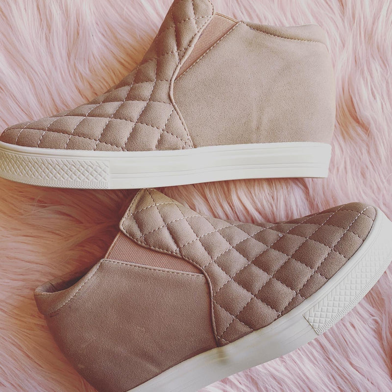 Piper Blush Quilted Wedge Sneakers