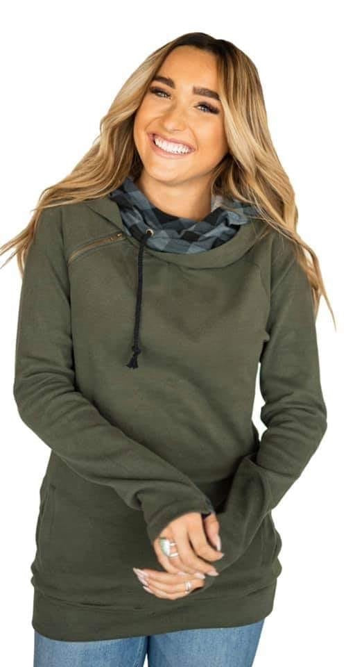 Ampersand Double Hoodie Olive Plaid