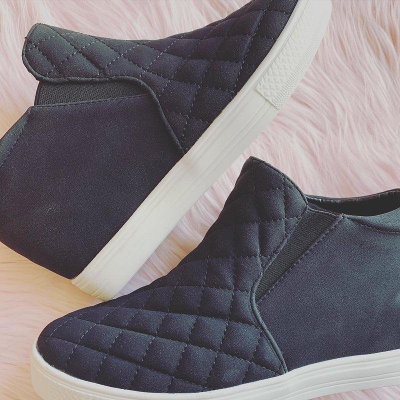 Piper Black Quilted Wedge Sneakers