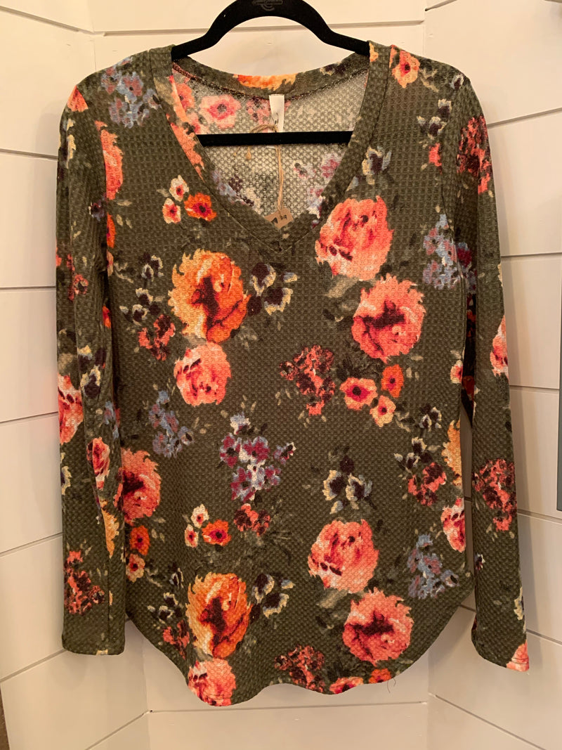 Olive Floral Waffle Top