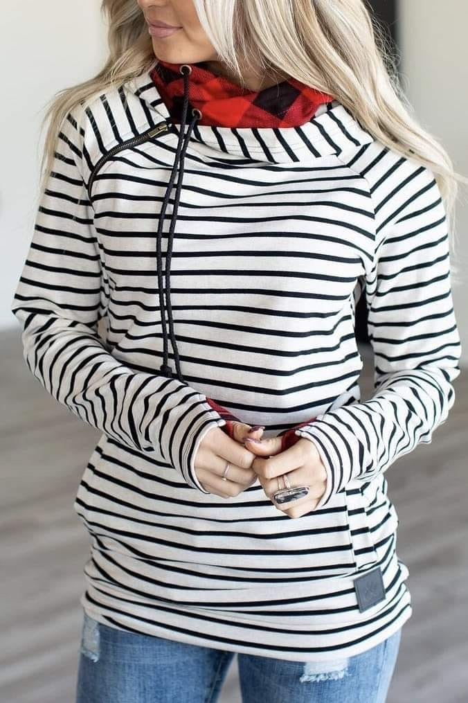 Ampersand Double Hoodie Plaid Stripe