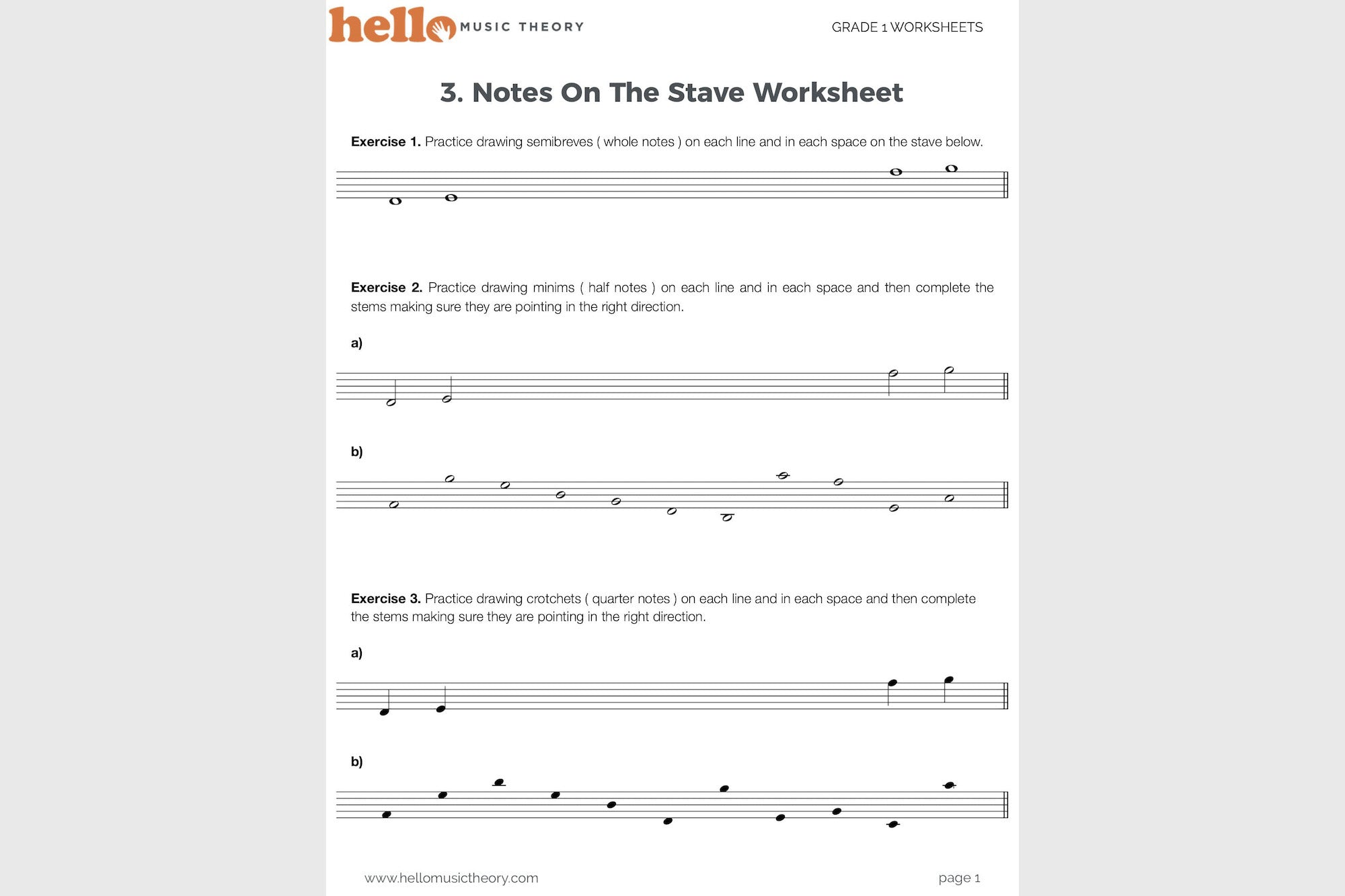 Worksheets Music Theory Worksheet grade 1 music theory worksheets hello pack