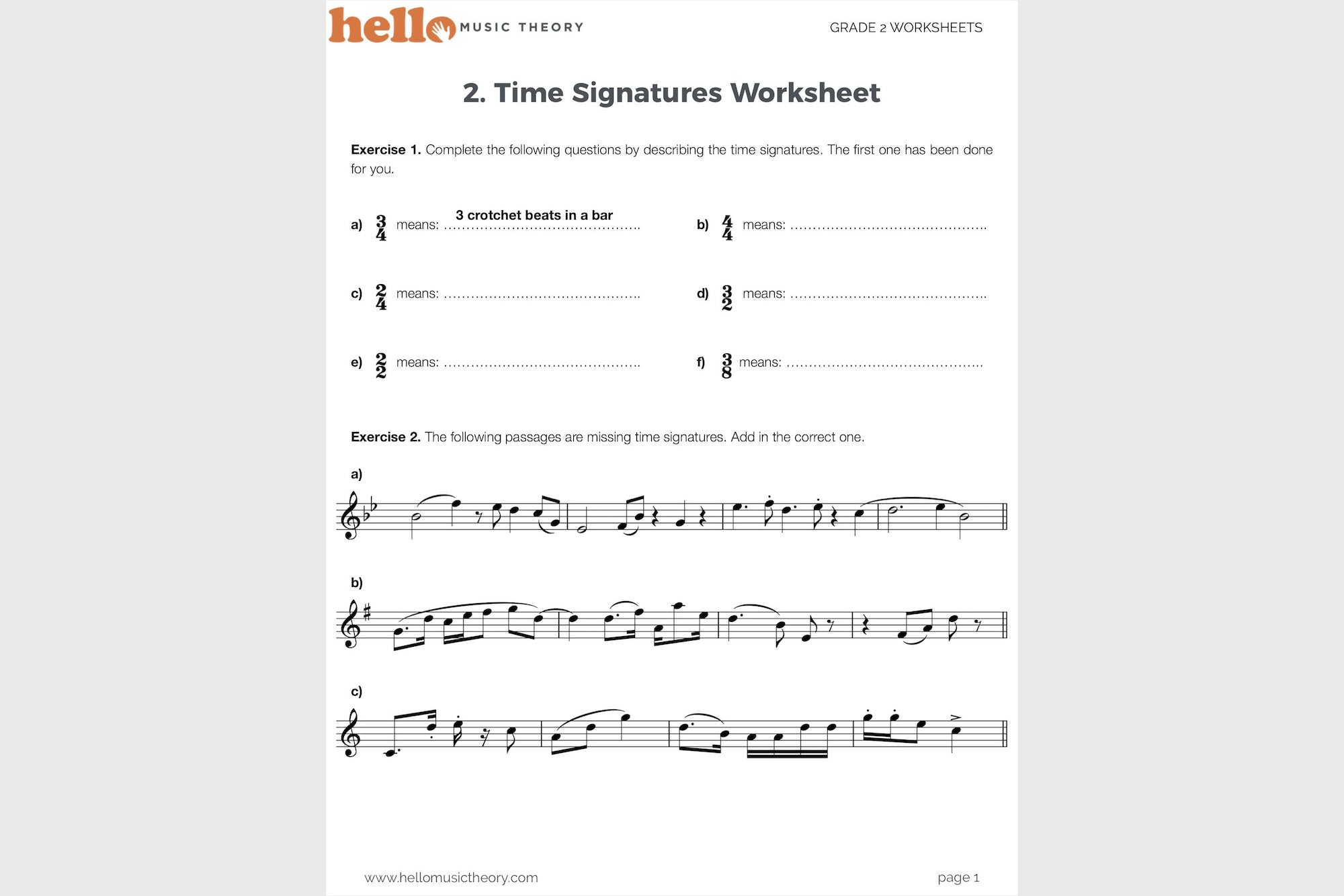 Worksheets Time Signature Worksheet grade 2 music theory worksheets hello pack