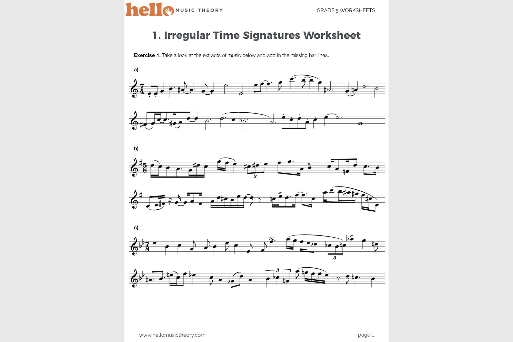 Worksheets Time Signature Worksheet grade 5 music theory worksheets hello pack