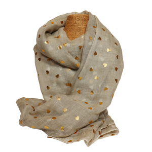 Oatmeal & Gold Metallic Heart Print Scarf