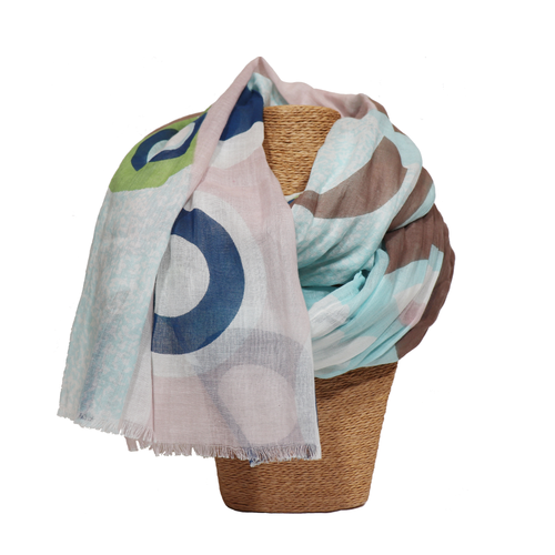 Revolving Abstract Circle Print Scarf