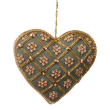 Decoration - Teal Silk Heart