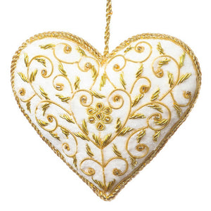 Decoration - White Velvet Floral Heart