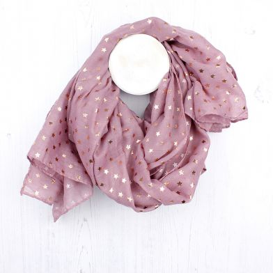 Washed Pink & Rose Gold Foil Tiny Stars Print Scarf
