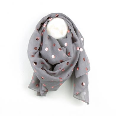 Grey & Rose Gold Metallic Spot Print Scarf