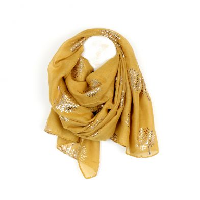 Mustard & Gold Metallic Tree Print Scarf