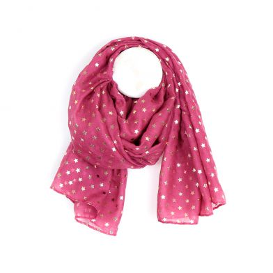 Pink & Rose Gold Metallic Star Print Scarf