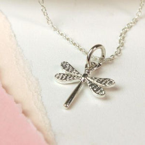 Sterling Silver Dragonfly Charm Necklace