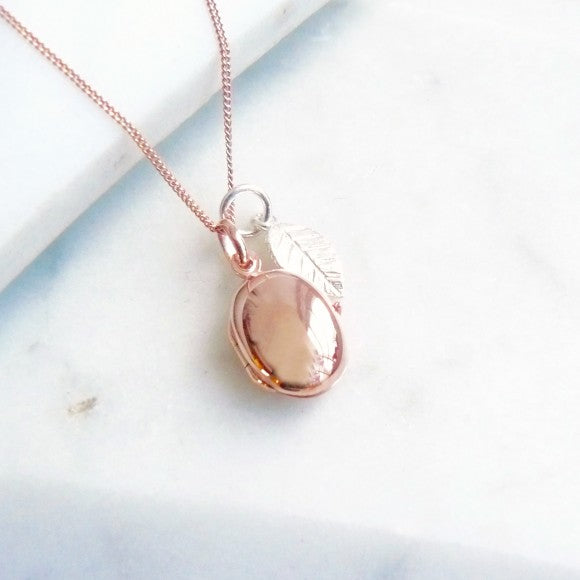 Pebble Locket Rose Gold with Silver Leaf Charm Necklace