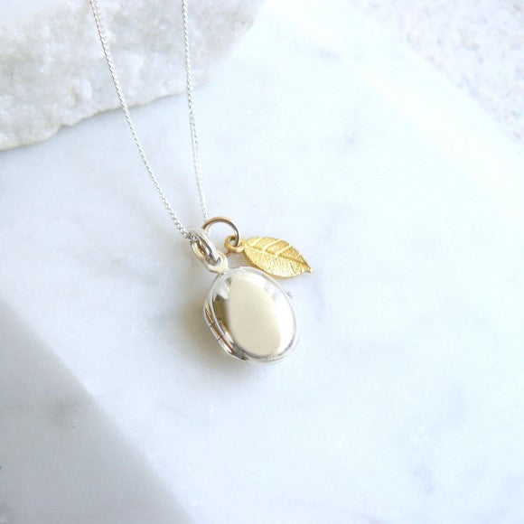 Pebble Locket Silver with Gold Leaf Charm Necklace