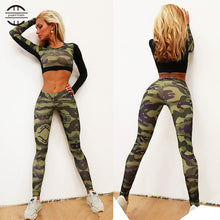 Load image into Gallery viewer, 'Guerrilla' 2 Piece Workout Set - Crop Top & Leggings