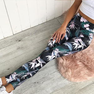 'Lotus' Floral Leaf Print  Leggings / Yoga Pants