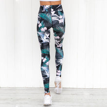 Load image into Gallery viewer, 'Lotus' Floral Leaf Print  Leggings / Yoga Pants