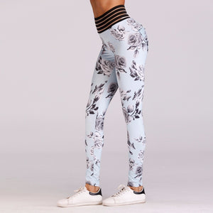'Alyssa' Floral Print Scrunch Leggings / Yoga Pants