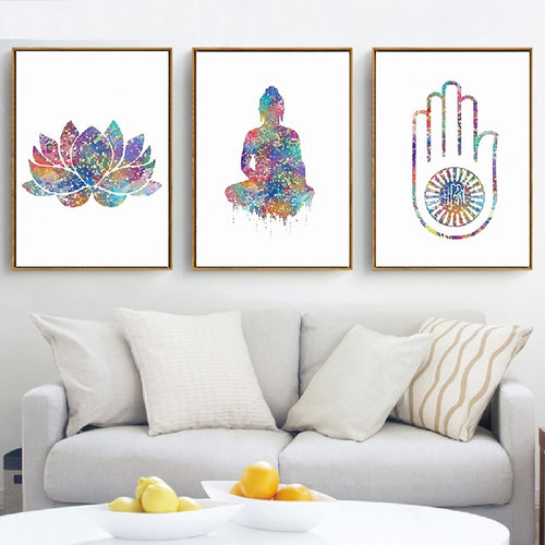 Watercolour Buddha Wall Canvas - 3 Design Styles
