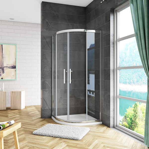 8mm NANO Easy Clean tempered clear glass Quadrant Shower Enclosure 1900mm Chrome Offset/Equal Cubicle