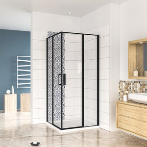 1850mm Height Pivot Shower Enclosure 6mm Easy Clean Tempered Clear Glass NANO Black Frame