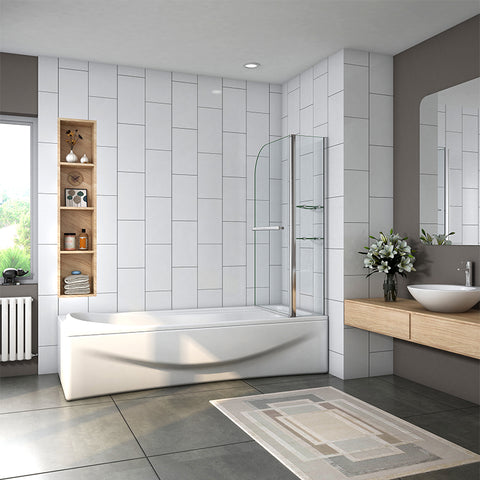 1000x1400mm Pivot Shower Bath Screen with Glass Shelves&Towel Rail, Easy Clean Nano Glass Chrome Frame