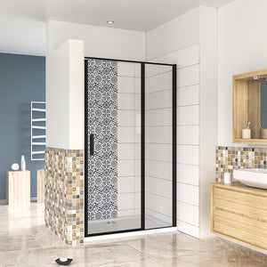 185cm Pivot Shower Enclosure Door Black frame, 6mm safety tempered easyclean glass, Tray Optional