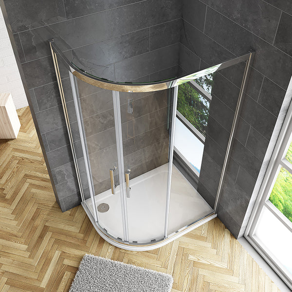 Offset/Equal Cubicle Quadrant Shower Enclosure 8mm NANO Easy Clean Tempered Clear Glass 1900mm Chrome