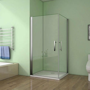 900-1000mmx1950 Frameless Pivot corner entry shower Enclosures chrome double Doors